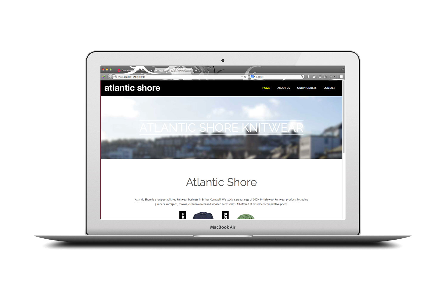 Atlantic Shore Knitwear website from cornishrock in Cornwall, professional website designers