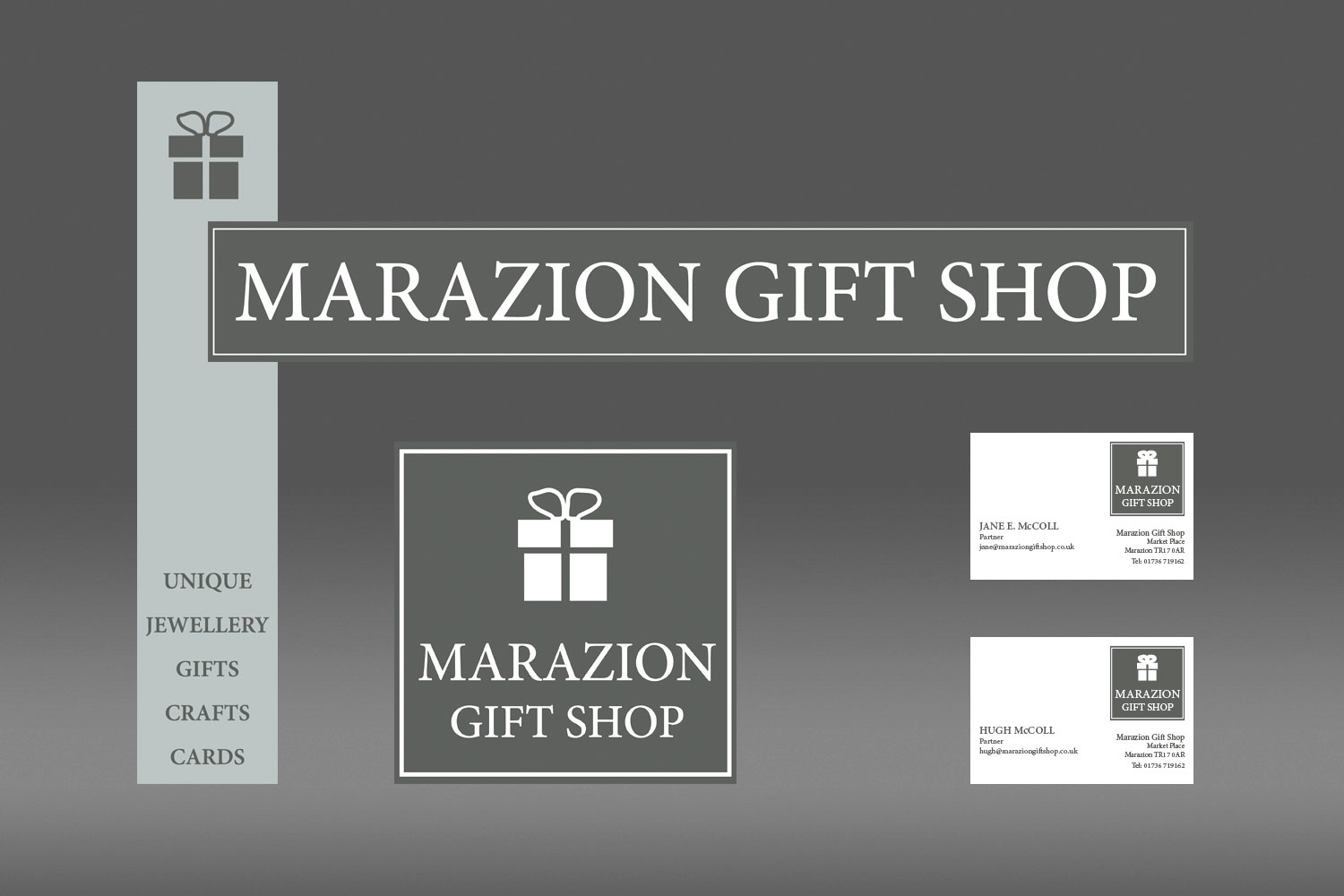 Marazion Gift Shop signage design and branding from cornishrock in Cornwall