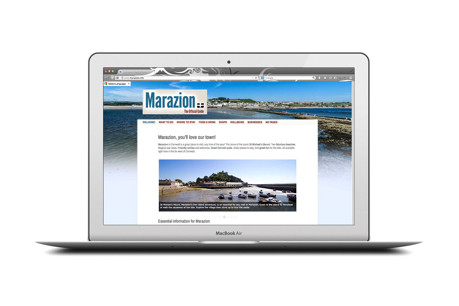 marazion.info tourist website from cornishrock in Cornwall, professional website designers