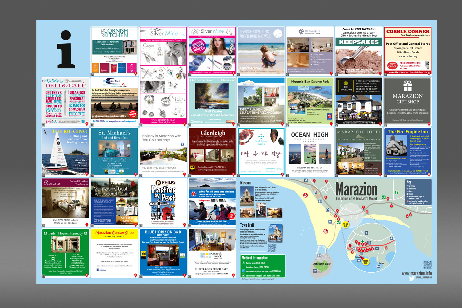 Marazion tourist information boards design and branding from cornishrock in Cornwall
